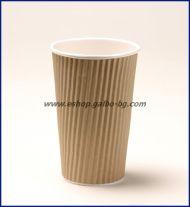 Картонена чаша 16 oz (400 мл) RIPPLE крафт, тристенна, 25/500 бр