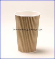Картонена чаша 20 oz (500 мл) RIPPLE крафт, тристенна, 25/500 бр